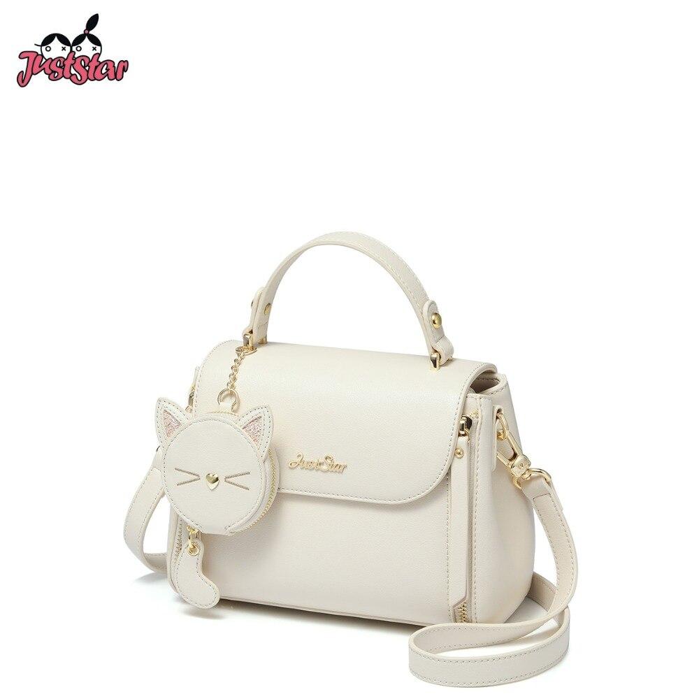 JUST STAR Women s PU Leather Handbags Ladies Fashion Cat Tassel Tote Purse Female Sweet Elegant