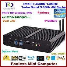 Бесплатная доставка без вентилятора мини настольных ПК мини ITX HTPC Haswell Core i7 4500U 8 ГБ Оперативная память 4 К Dual LAN + HDMI SPDIF 4 * USB 3.0 Wi-Fi Win 7