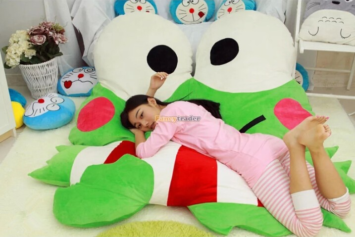 Fancytrader High Quality Frog 180cm X 165cm Huge Giant Cute Frog Bed Carpet Sofa Tatami, Free Shipping FT90348 fancytrader 220cm x 150cm huge giant cute garfield bed carpet sofa tatami great gift free shipping ft90351