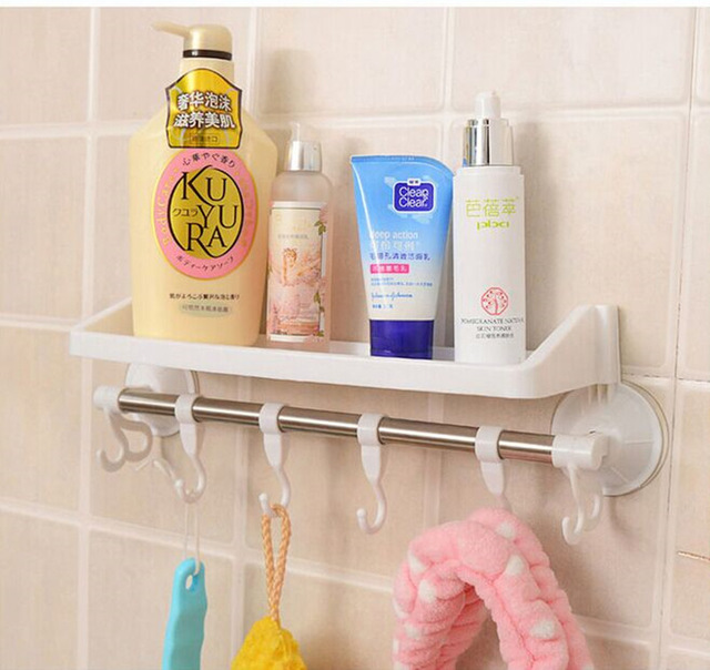 Towel Hanging Sucker Plastic Wall Shelf Toilet Shelving 2016 Limited Hot Sale Wall Mounted Type Single Prateleira Storage Rack