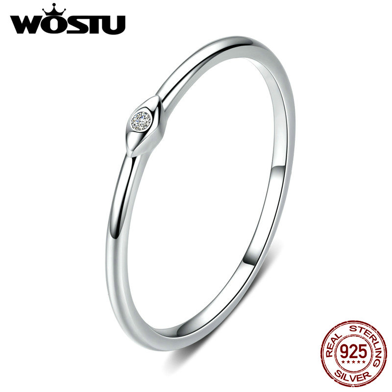 WOSTU 100% Real 925 Sterling Silver Fashionable Wedding Rings Stackable Finger Zircon Rings For Women Luxury Jewelry CQR556