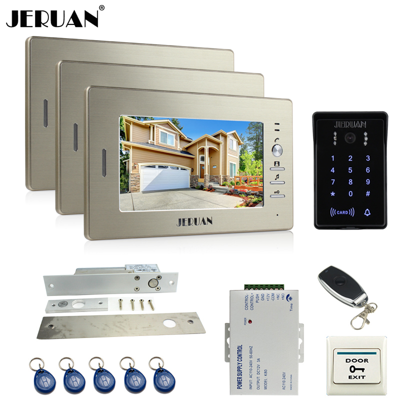 JERUAN luxury 7`` LCD video doorphone intercom system 3 monitor RFID waterproof Touch Key password keypad camera+remote control jeruan wired 7 touch key video doorphone intercom system kit waterproof touch key password keypad camera 180kg magnetic lock