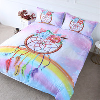 BlessLiving Pink Horn Bedding Unicorn Rainbow Bedspread Watercolor Peony Bed Cover Set Dreamcatcher Home Textile Kids Girls Gift