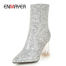 ENMAYER New Arrival women round toe sequined cloth zip ankle boots lady heel high Size 34-43 ZYL820