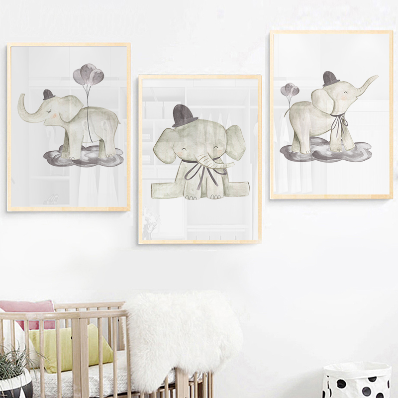 Watercolor Nursery Elephant Canvas Print Lovely Painting Nordic Balloon Animal Wall Picture Poster for Kids Room Decoration in Painting Calligraphy from Home Garden