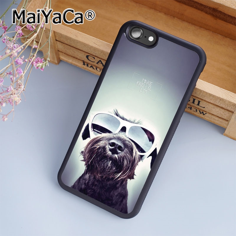 Maiyaca Miniature Schnauzer Puppy Dog With Glass Phone Case Cover For Iphone 5 5s 6 6s 7 8 Plus X Soft Case For Samsung S7 Edge Phone Bags & Cases