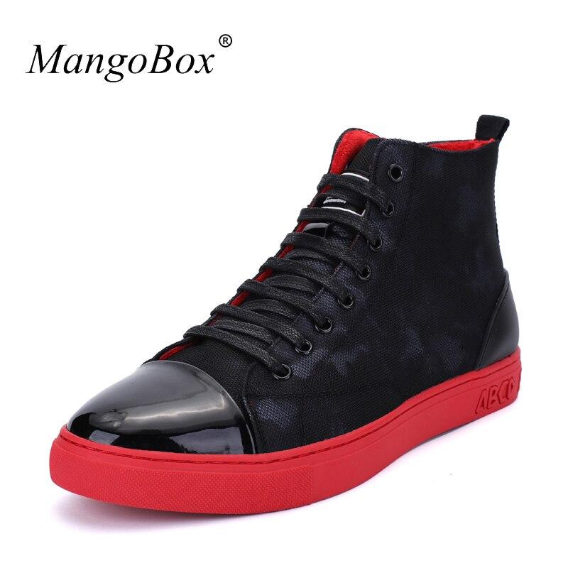 New Cool Hommes Haute Bottes De Fourrure Hommes Chaussures Casual Chaussures De Mode Fond Rouge Hommes Chaussures Casual Confortable Mâle Chaussures Casual