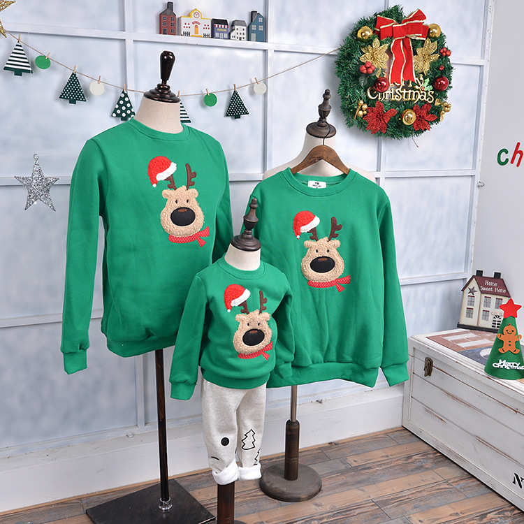 Family look family matching clothes cashmere sweatershirt christmas deer mother and daughter clothes father son matching clothes