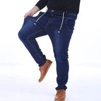 Large Size Men S Jeans Men Elastic Waist High Elasticity Foot Pants Plus Size 7XL Cowboy