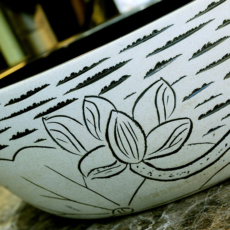 China Artistic Handmade Engraving Ceramic Lavobo Round Countertop round wash basin ceramic (5)