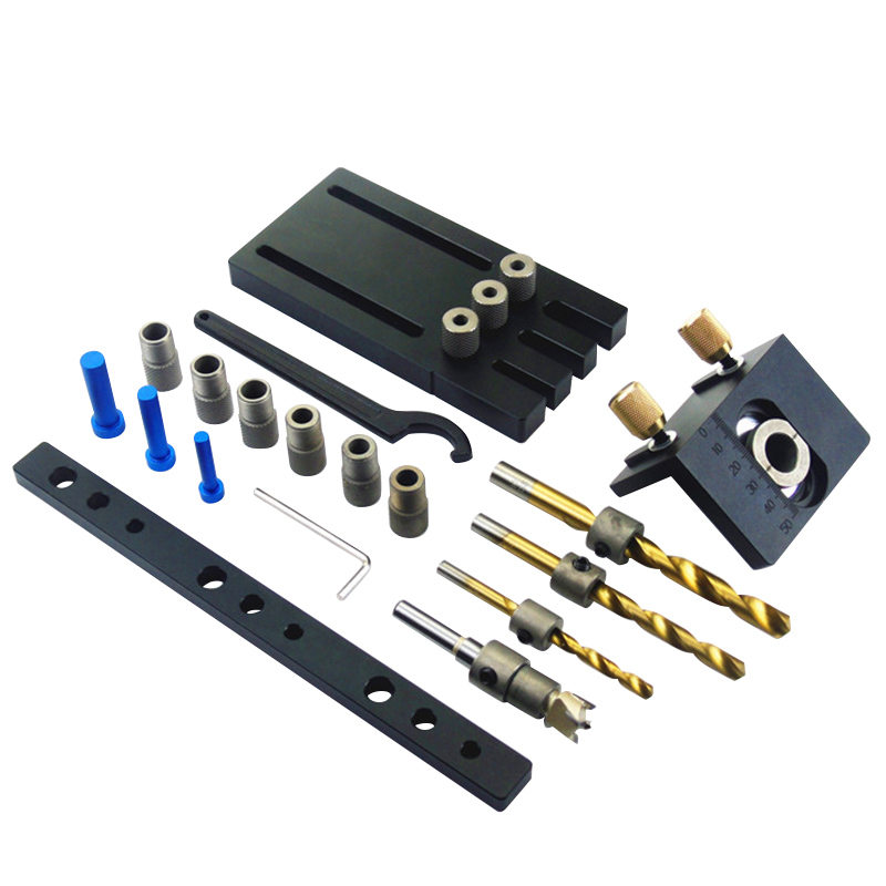 Hole Drill Guide Dowel Jig Set with Drilling Bits & Depth Stop Collar Woodworking Locator ToolsHole Drill Guide Dowel Jig Set with Drilling Bits & Depth Stop Collar Woodworking Locator Tools
