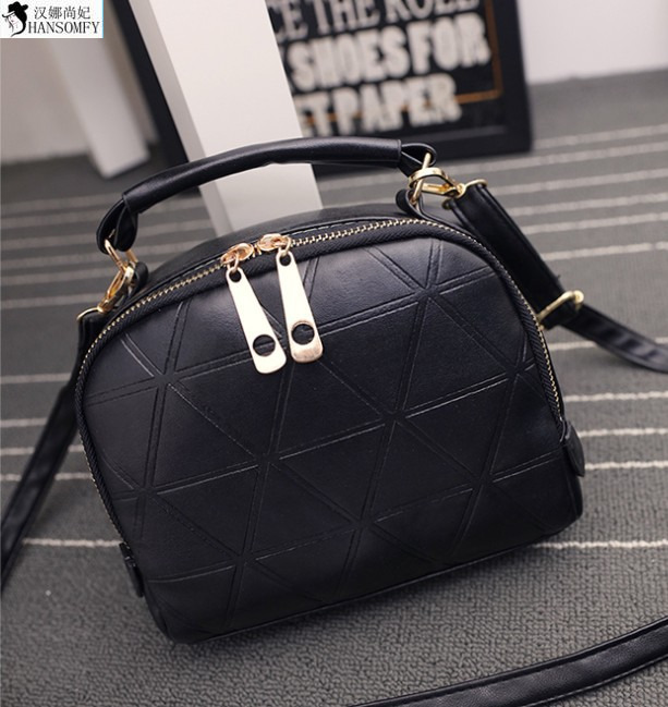 HANSOMFY  2015 New Double Zipper Bag Handbag Fashion Small Embossed Triangle Single Shoulder Bag