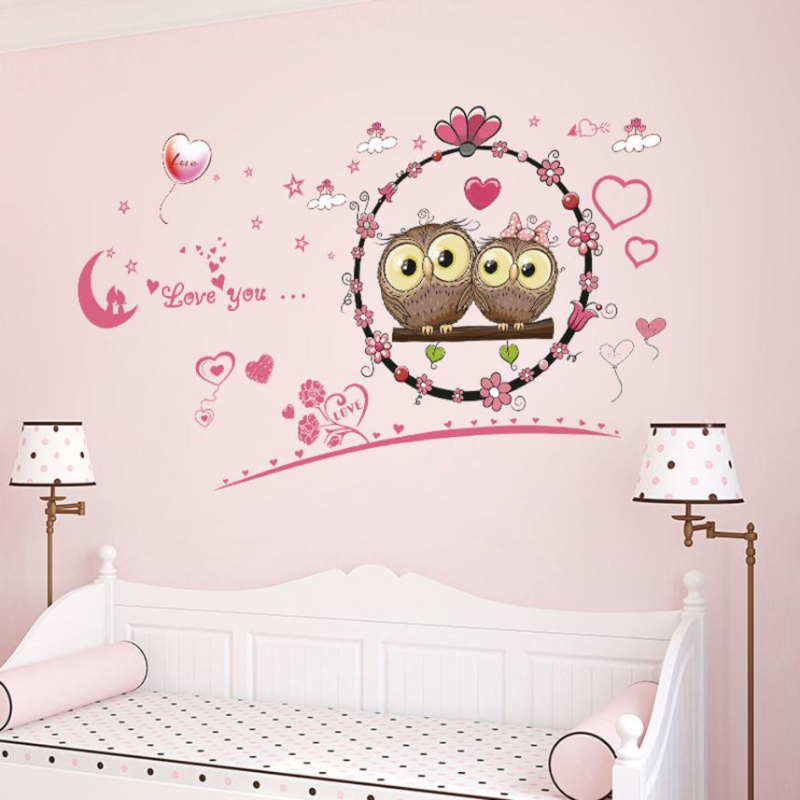 DIY Wall Stickers Cute Owl Pattern Removable Wall Decal Family Home Sticker  Mural Art Home Decor Accessories For Bedrooms Living