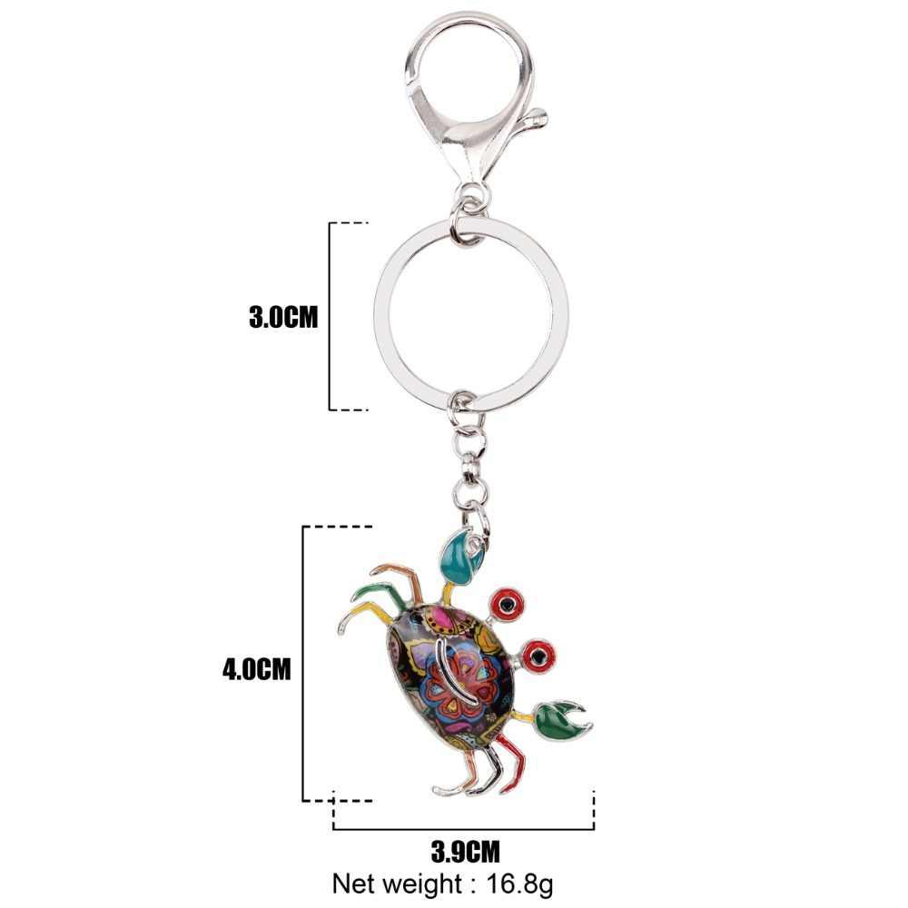 Bonsny Metal cangrejo llavero bolso encanto nueva moda océano Animal joyería para mujeres esmalte llavero Accesorios