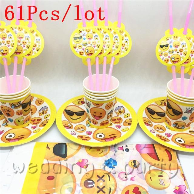 Emoji Theme 61PCS Set Party Supplies Kids Birthday Decoration Straws Tablecloth Plates Cups Cartoon Trolls