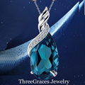 2016 Fashion 925 Sterling Silver Jewelry High Quality Teardrop Austrian Crystal Necklaces Pendants For Women Gift PN046