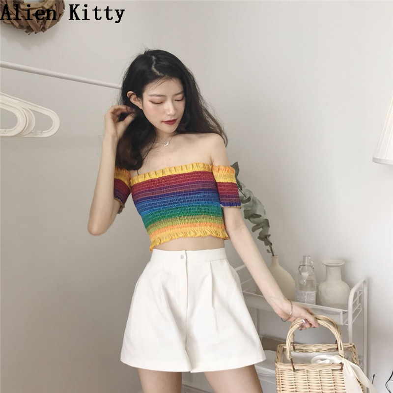 Alien Kitty 2018 Summer New T shirt Women Fashion Loose Rainbow Natural Color Short Shirt Slash Neck Mujer Shirts Soft Slim