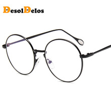 2019 New Man Woman Retro Round Glasses Transparent Metal Eyeglass Frame Black Silver Gold spectacles Eyeglasses fashion pvc frame spectacles eyeglass black