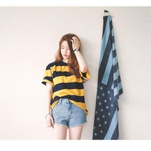 summer T-Shirt women cloth Korean style tops new loose tshirt O-NECK short sleeve striped casual clothing pullover womans shirts