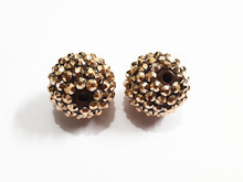 Newest !  20mm 100pcs/lot  Bronze coloured Resin Rhinestone Ball Beads,Chunky Beads For Kids  Jewelry Making