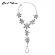 Coolshine Simple Sexy Summer Bohemian Beach Foot Jewelry Women Crystal Stars Shape Ankle Barefoot Chain Jewelry For Women Party