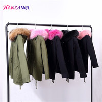 2018 Women's Army Green Large Color Raccoon Fur Hooded Coat Parkas Outwear Long Detachable Fox Fur Lining Winter Jacket Brand