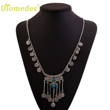 Diomedes Necklace Women Pop Gypsy Ethnic Tribal Turkish Boho Coin Long Chain Gem Necklace Charm Jewelry Gift New #0118(China)