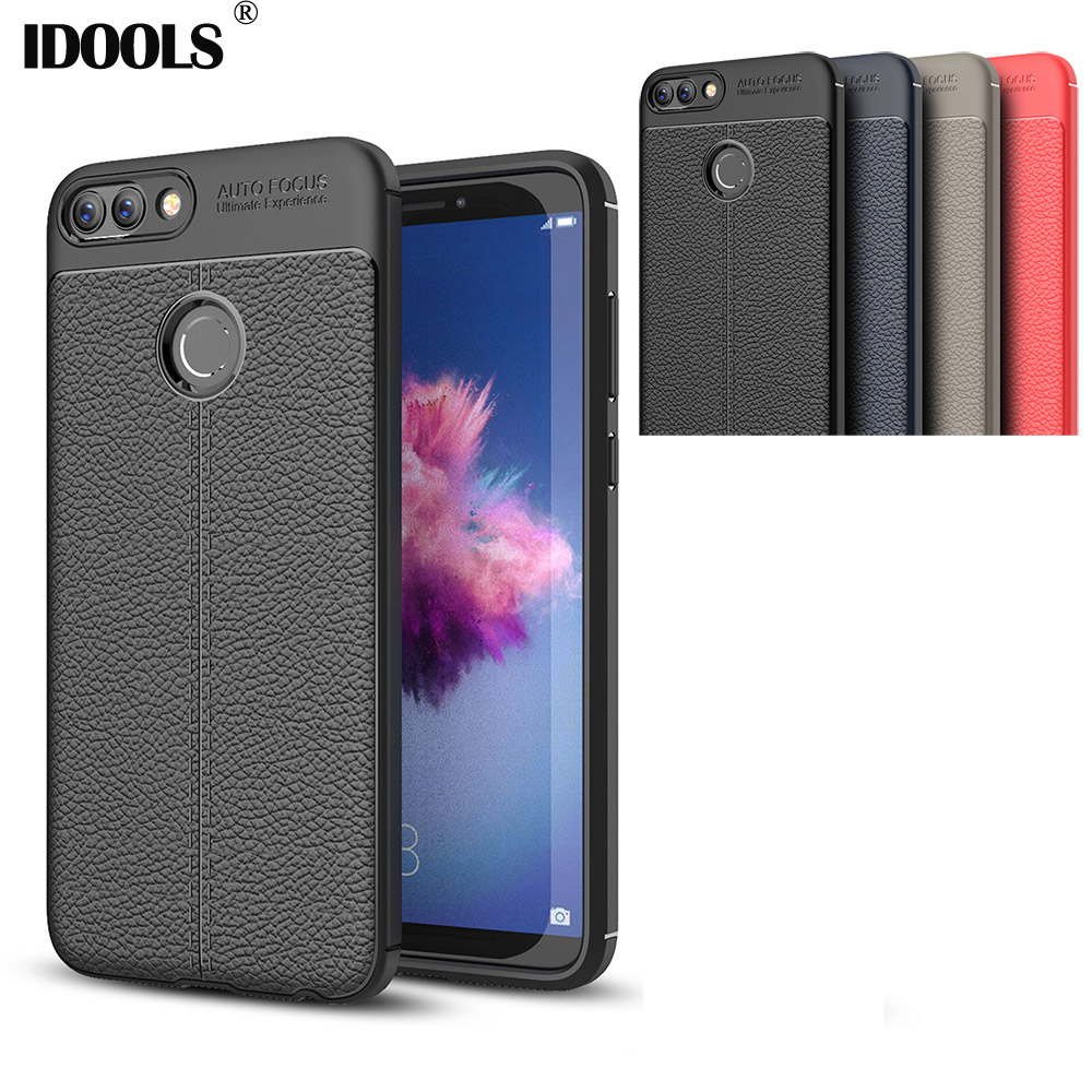 IDOOLS Case For Huawei Enjoy 7S Dirt Resistant Back Cover Soft TPU Carbon Fiber Mobile Phone Bag Cases For Huawei Enjoy 7S 7 S