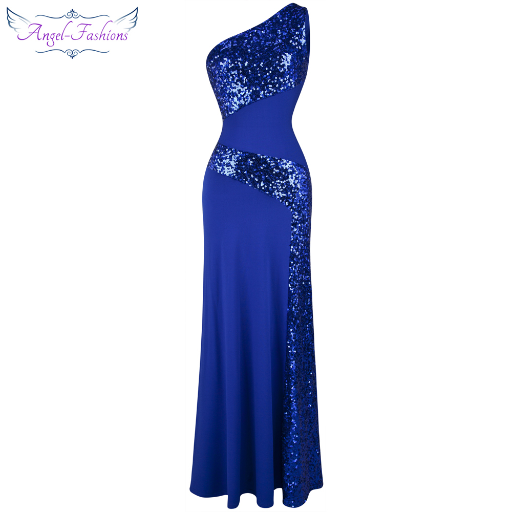 Angel-fashions One Shoulder Sleeveless Splicing Sequins Full Length Party Dress Blue 068