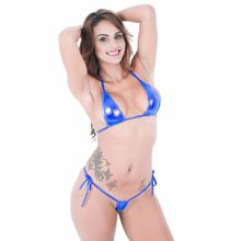 Women micro bikini Eye-catching Shiny Bikini Micro Halter Top + G-String Set Swimsuit woman thong(China)