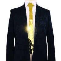 Handmade Geometric Shape Acrylic Double Honeycomb Shape Men Slim Fashion Gold and Silver Wedding Tie