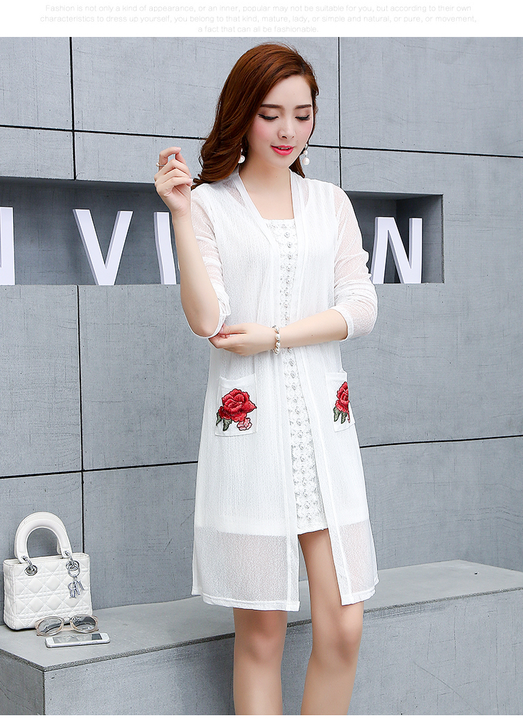 Us 1438 10 Offautumn Lace Dress Long Kimonos Mujer Cardigans Flower Embroidery Blusas Feminina White Black Big Plus Size Xl4xl Woman Cardigan In