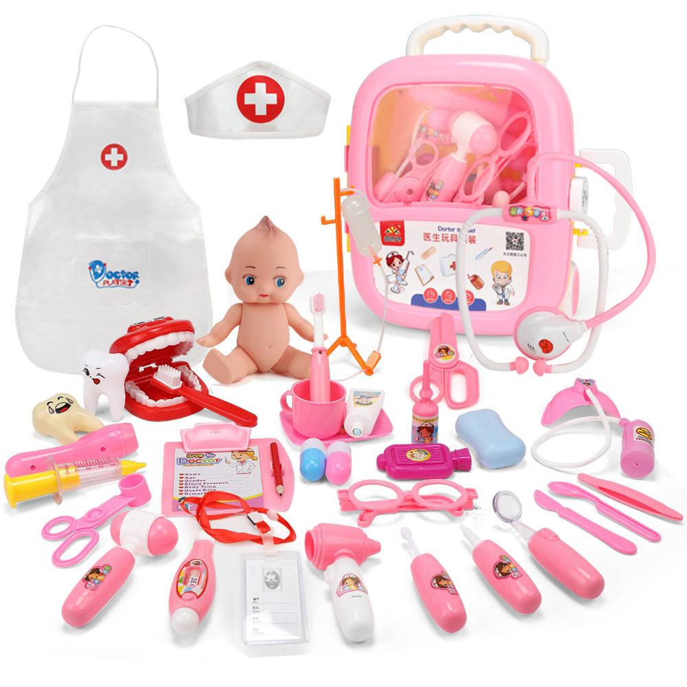 39PCS Doctor Pretend Play Toys Simulation Vocal Light Medical Kit Portable Suitcase Luggage Pack Kids Educational Classic Toys image