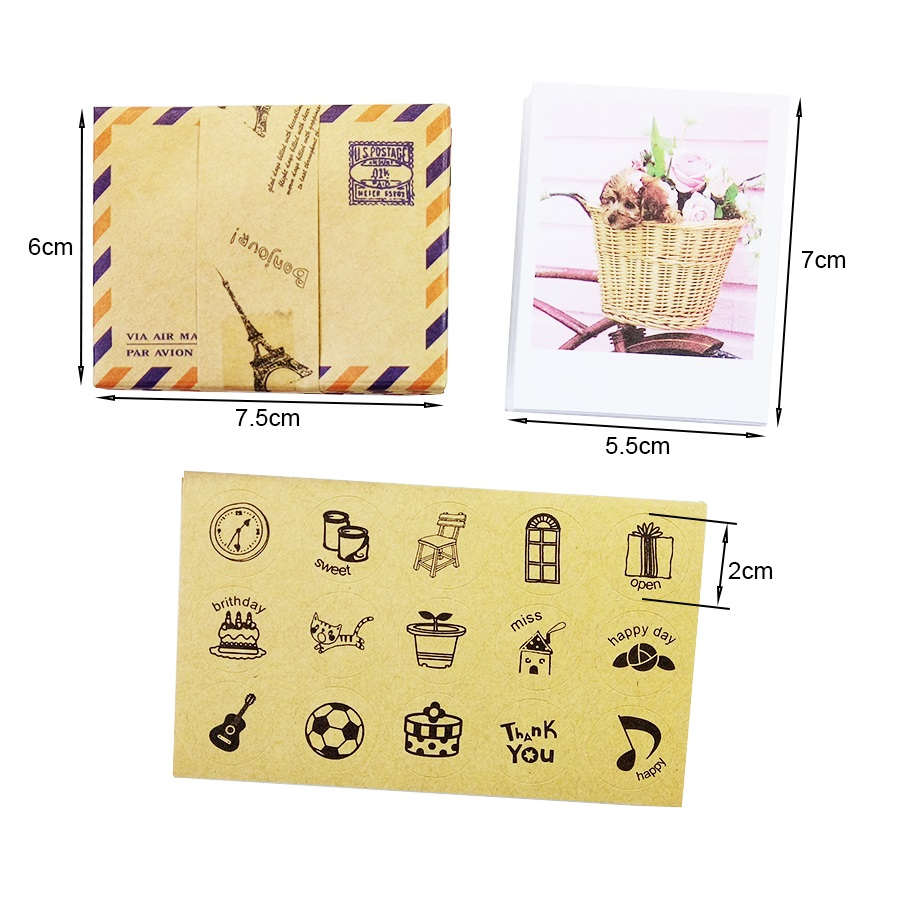 1setslot Vintage Lomo Card Set With Envelopes Stickers Greeting