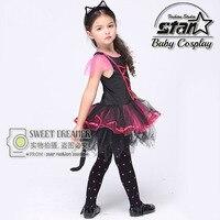 ליל כל הקדושים קוספליי ילדה חתול שחור שמלת טוטו Mesh קיטי בגדי בנות ילדים ילדי תלבושות ביצועים קרנבל שמלה עם זנב
