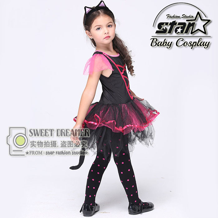 Halloween Cosplay Dress Black Cat Girl Costume Children Kids Performance Clothes Girls Carnival Tutu Mesh Kitty Dress With Tail gril flower dress multi storey white clothes stage girl performance children show clothes for dance with a pair of glove