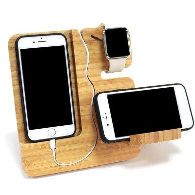 Wooden Mobile Phone Holder Porous Usb Charging Bracket Universal Charging Dock For Smart Phones