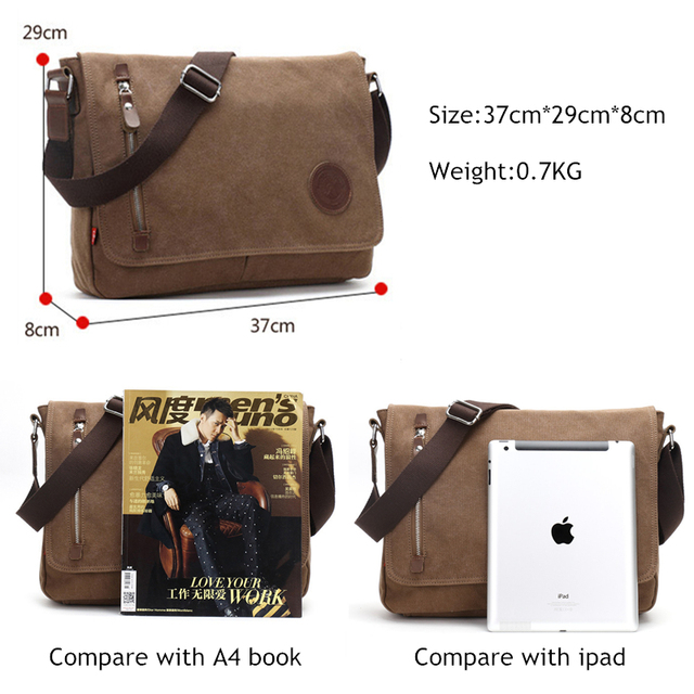 Canvas Leather Crossbody Bag Men Military Army Vintage Messenger Bags Shoulder Bag Casual Travel Bags 5