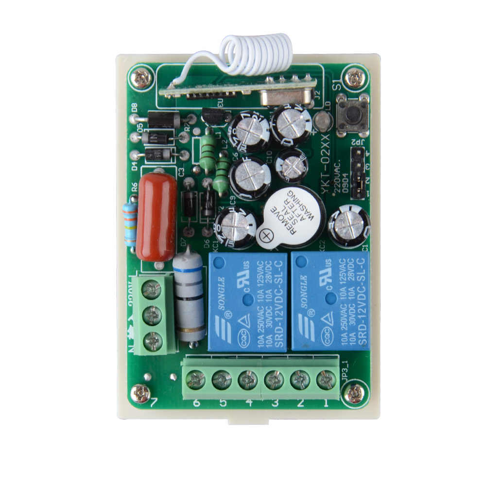 AC 220V 2CH 10A RF Wireless Remote Switch With Learning Button & 2 Relay Light Switch Receiver Without controller