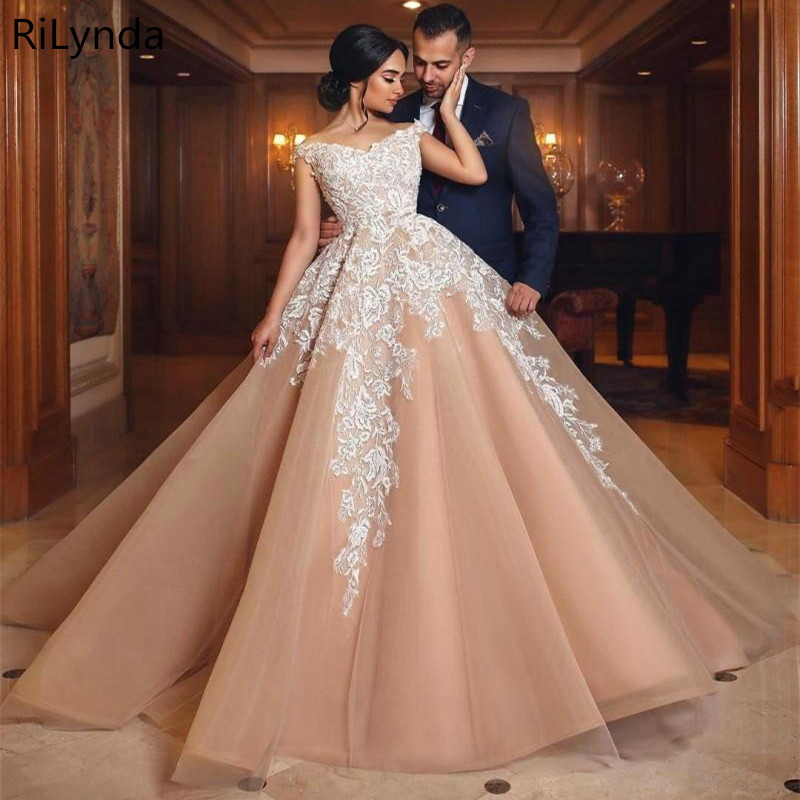 Luxury Ball Gown Wedding Dresses 2019 Blush Pink float and Lace Customize Back Zipper Bridal Gown