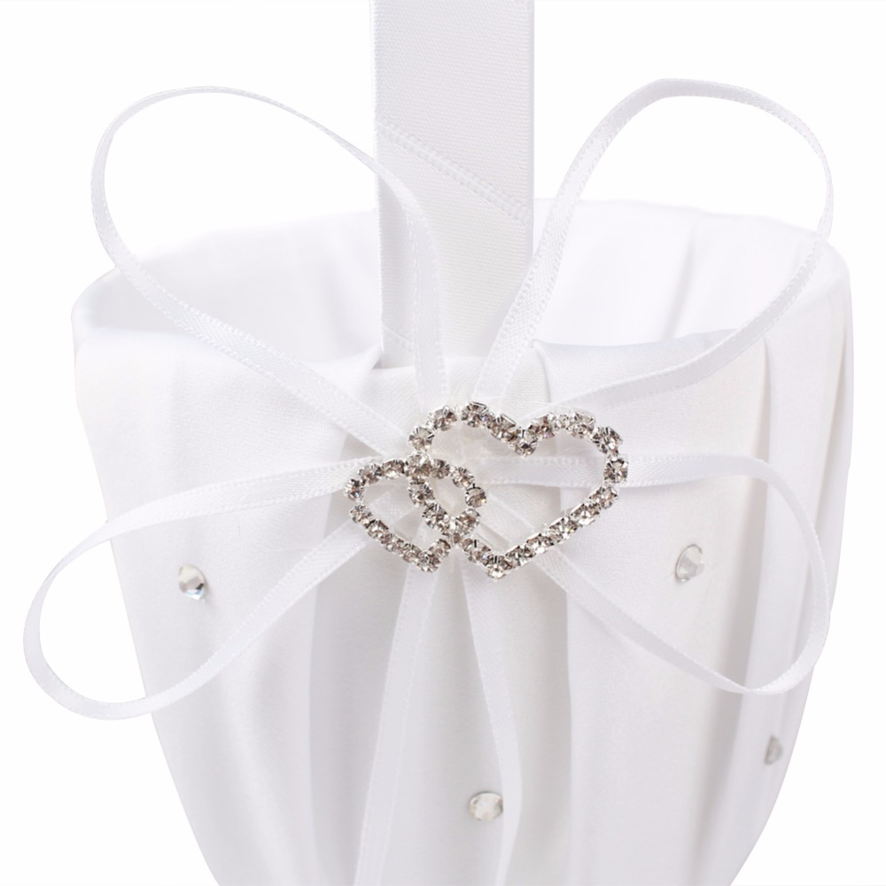 Ourwarm White Flower Girl Basket For Wedding Decoration Romantic