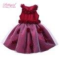 Cutestyles top-grade do bebê girls dress red apliques vestido de baile branco gd50101-01 voile vestido de desgaste do partido crianças traje do bebê roupas