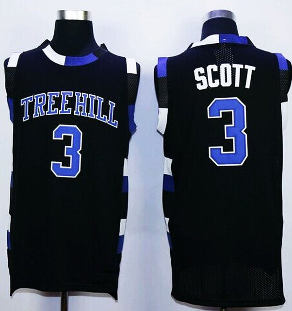 7b76cca25 Mens  3 Lucas Scott One Tree Hill Movie Basketball Jersey Embroidered and  Stitched white black S to XXXL