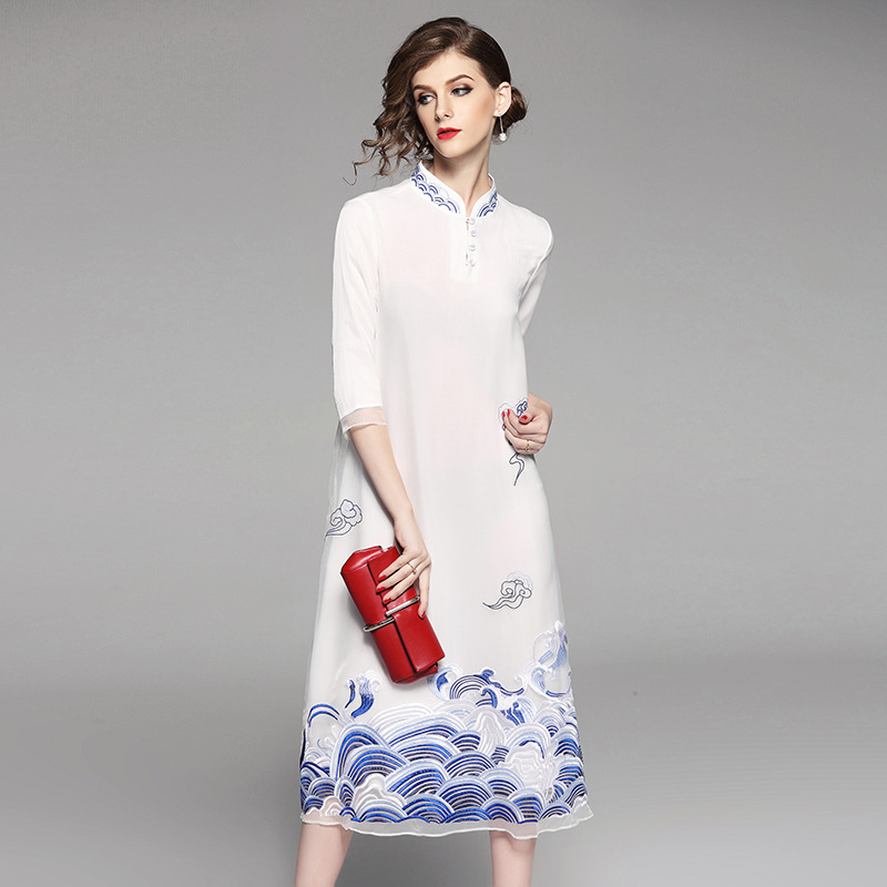 High-end spring summer women Chinese style floral dress embroidery cheongsam elegant slim lady A-line Qipao party dress S-XXL