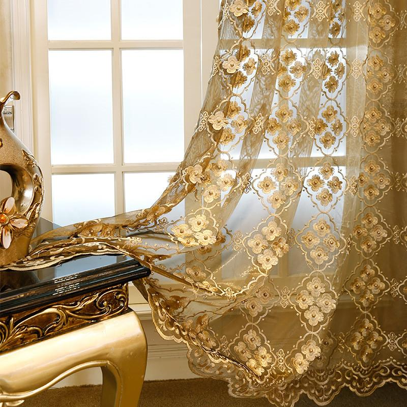 Home Decor Window Luxury Window screen Curtains For The Bedroom Pearl Embossed Embroidery Flower Tulle Free Shipping 150x260cm