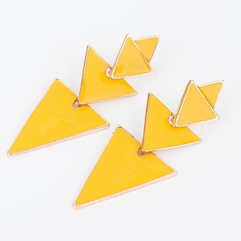 New arrived Triangle Geometric Irregular 4 color Enamel Punk Drop Earrings Bijoux Gorgeous Gold Color de festa #E153