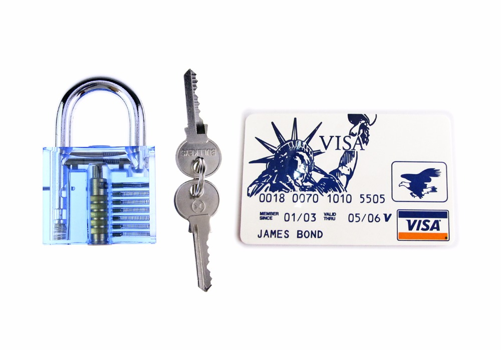 Locksmith Practice Skill Tools Set Transparent Blue Lock With 5pcs Practice Tools Hide In James Card