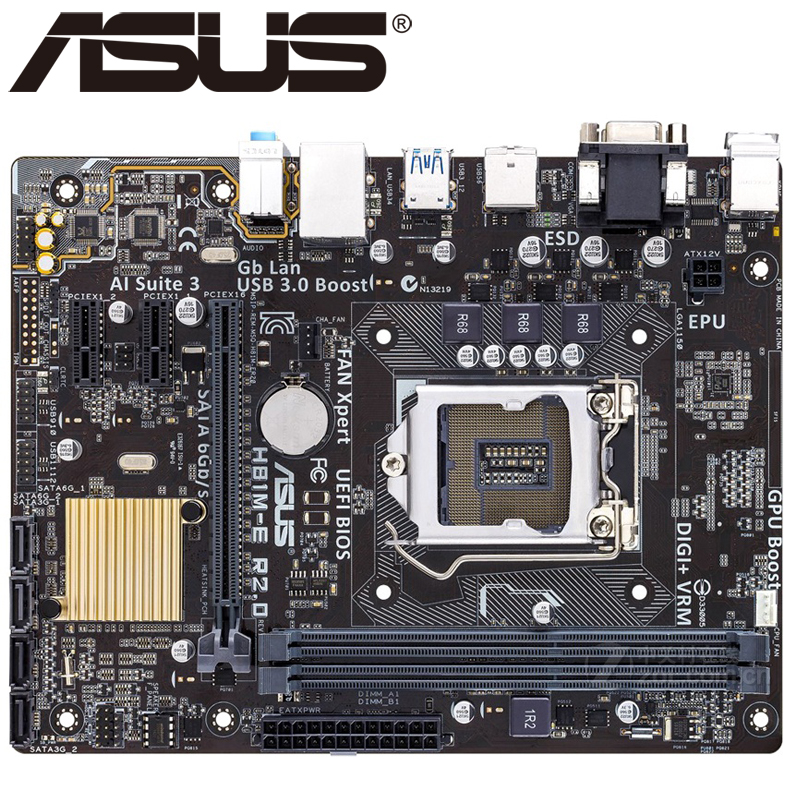 Asus H81M-E R2.0 Desktop Motherboard H81 Socket LGA 1150 i3 i5 i7 DDR3 16G Micro-ATX UEFI BIOS Original Used Mainboard Hot Sale asus m5a78l desktop motherboard 760g 780l socket am3 am3 ddr3 16g atx uefi bios original used mainboard on sale