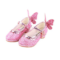 WENDYWU spring girls leather shoes children pink princess shoes for toddler pu leather heeled shoe party glitter mary jane
