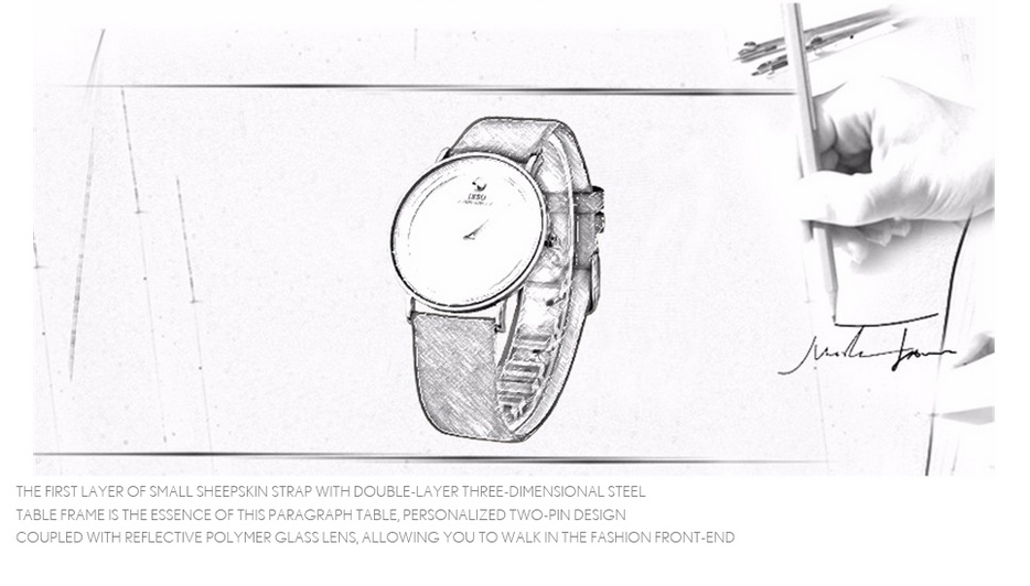 quartzo pulseira de couro à prova dwaterproof